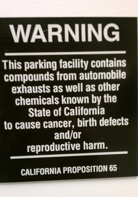 A proposition 65 warning