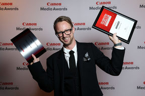 Founding editor Marcus Stickley at the 2016 Canon Media Awards.