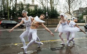 Russian ballet dancers stage a protest for gay rights.