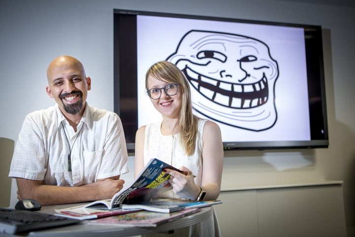 Maja Golf Papez, pictured with her supervisor Associate Professor Ekant, got the feeling she was being trolled as she studied them.