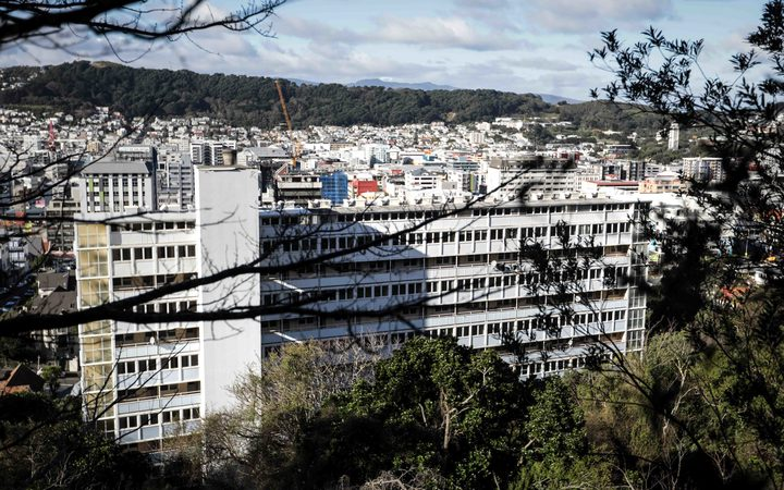 A developer says the building stands out like a turd.A view of the building from Victoria's Kelburn campus.