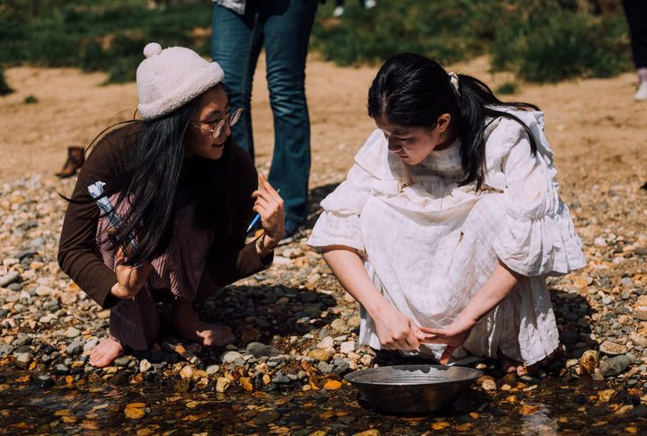Nahyeon Lee, left, on the set of her short film My Mother Told Me, with actor Bridget Wong.