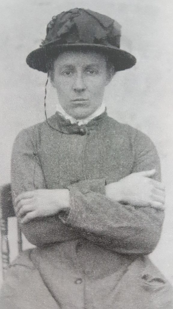 A police mugshot of Amy Bock, 1886