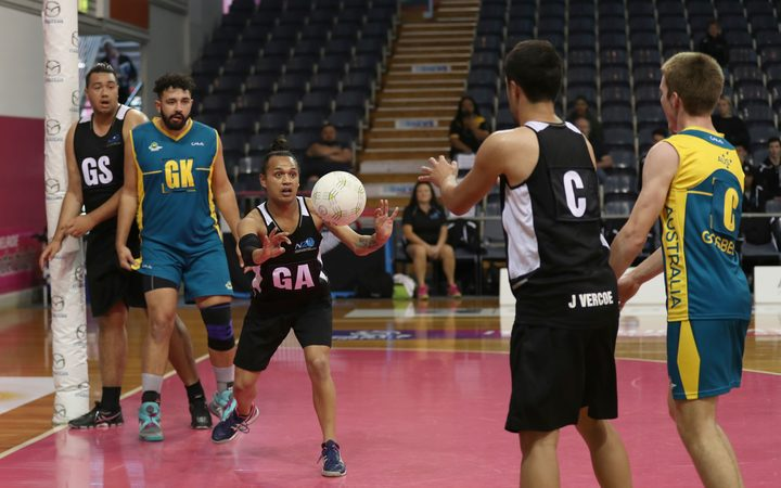 New Zealand men's netball team playing Australia at 2018 the trans-Tasman Cup