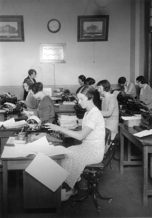 An army of office workers arose during the 20th century to administer a complex economy increasingly based on communications.