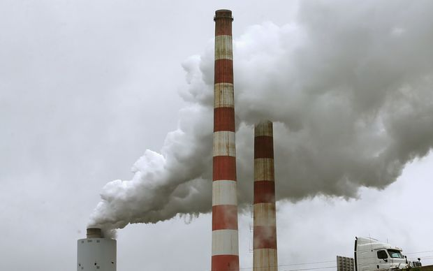 Emissions pour out of the coal-fired Morgantown Generating Station in Newburg, Maryland.