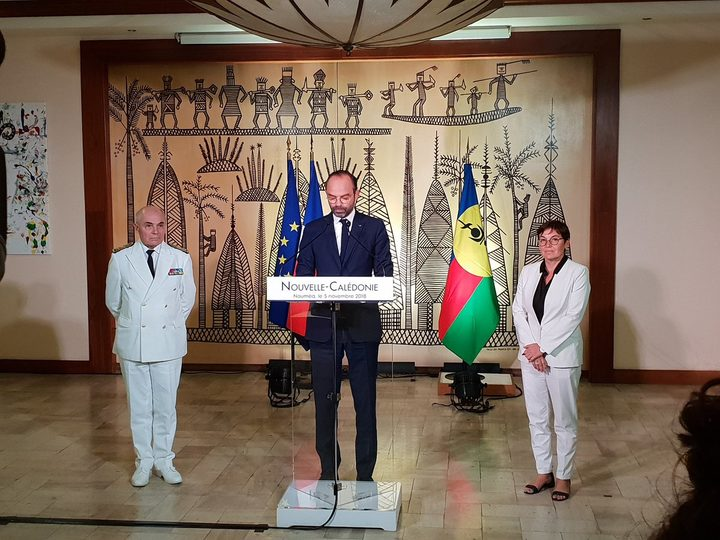 French prime minister Edouard Philippe flanked by overseas minister Annick Girardin and the High Commissioner to New Caledonia Thierry Lataste