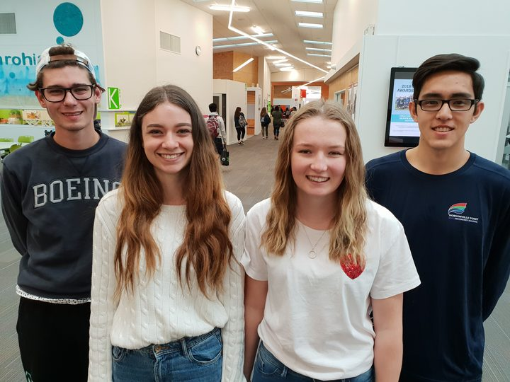Angus Lynch, Jennifer Berry, Molly Scott, Jalen Wilson at Hobsonville Point Secondary School