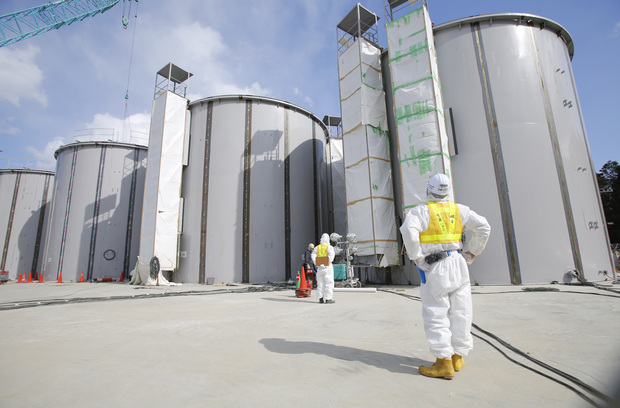 Storage tanks for radioactive water under construction at the Fukushima nuclear power plant.