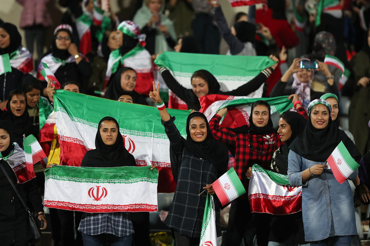 Iranian women at a friendly football match between Iran and Bolivia last month.