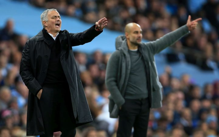 Manchester City v Manchester United - Man Utd manager Jose Mourinho (L) and Man City manager Pep Guardiola.