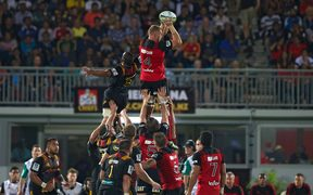 Crusaders lock Luke Romano wins a lineout against the Chiefs in their Super Rugby match in Suva earlier this year.