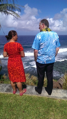 John Key at the Sua Ocean Trench, one of the most popular tourist sites on Upolu, standing with the operator of the site, Sina Petelo.