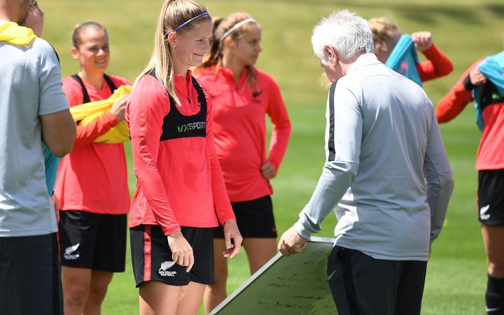 Katie Bowen and Football Ferns Head Coach Tom Sermanni at a training session ahead of the OFC Women's Nations Cup in New Caledonia.