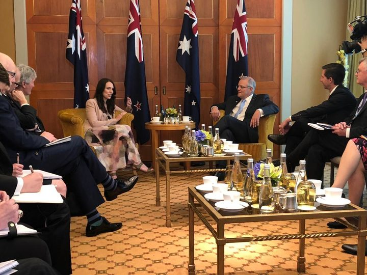 Jacinda Ardern and Australian PM Scott Morrison in Singapore.