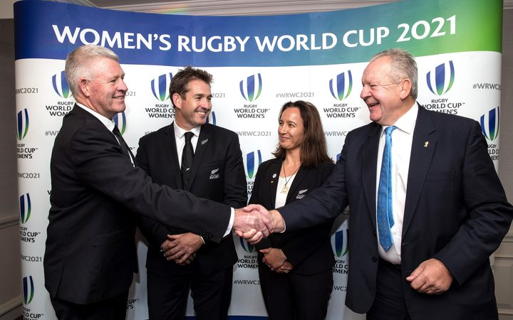 New Zealand wins the rights to host the 2021 women's Rugby World Cup. Steve Tew, Mark Robinson, Farah Palmer and Bill Beaumont.