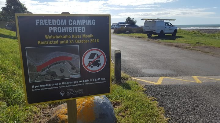 Freedom camping sign at Waiwhakaiho