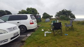 Freedom camping at Waiwhakaiho river