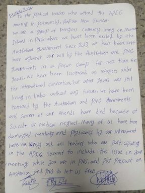 The letter written by Manus Island refugees to leaders attending the APEC Summit in PNG.