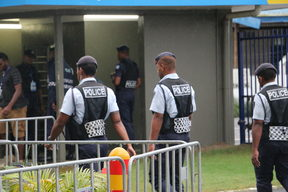Police in Suva following the election