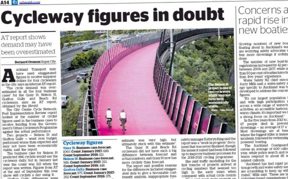The Herald article that sparked a backlash on bike lanes in Auckland this week.