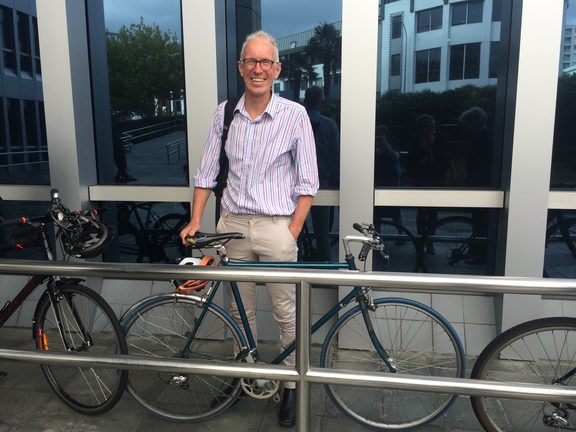 Prof. Alistair Woodward and his preferred mode of transport.