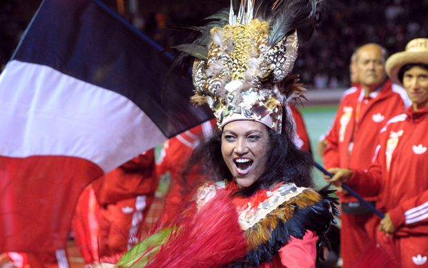 A woman from the Tahiti delegation at the 2011 Pacific Games in New Caledonia.