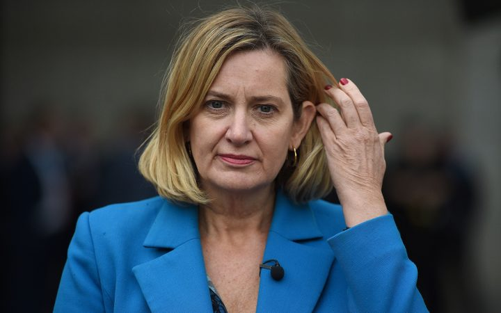 British Conservative Party politician Amber Rudd is pictured at the International Convention Centre in Birmingham, central England.