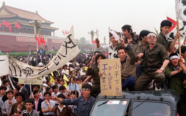 Chinese workers filling the streets of Beijing to support the students' pro-democracy movement in May 1989.