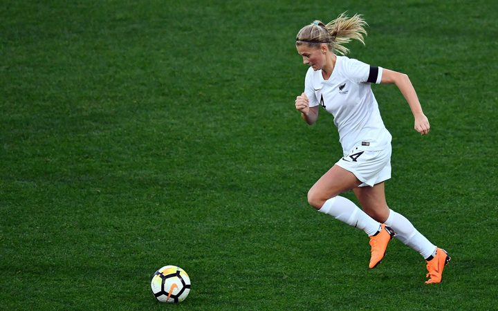Football Ferns' Katie Bowen in action