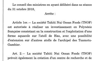 French Polynesia approves investment by Chinese company Tahiti Nui Ocean Foods