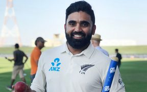 Black caps spinner Ajaz Patel.