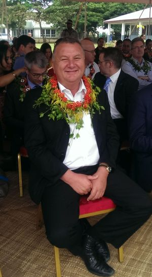 Pacific Economic Ambassador and former Labour MP Shane Jones at a performance by school children in Nuku'alofa.