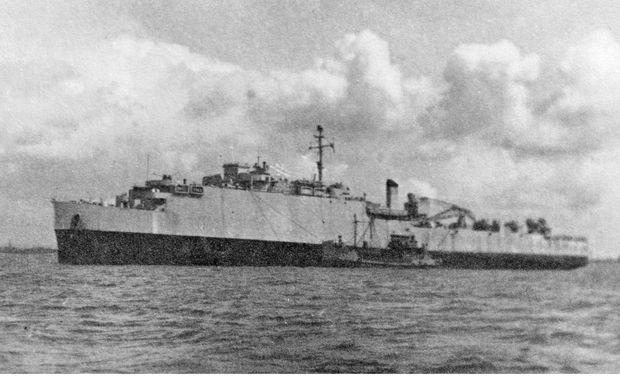 The HMS Oceanway, on which Jim Kelly served.