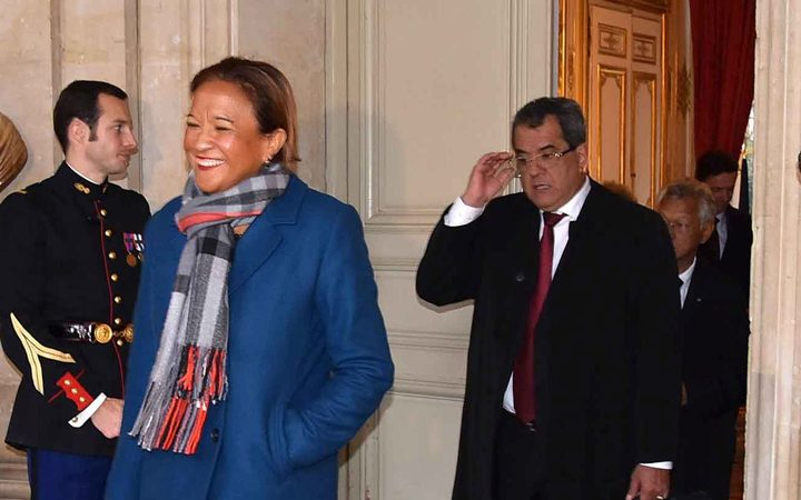 Lana Tetuanui and Edouard Fritch arrive for a meeting with French PM Edouard Philippe