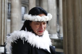 Tarita Alarcon Rapu, Governor of Easter Island gives a press conference outside the British Museum in London after requesting the return of Hoa Hakananai'a, an ancestor figure 'moai' from the museum on November 20, 2018.