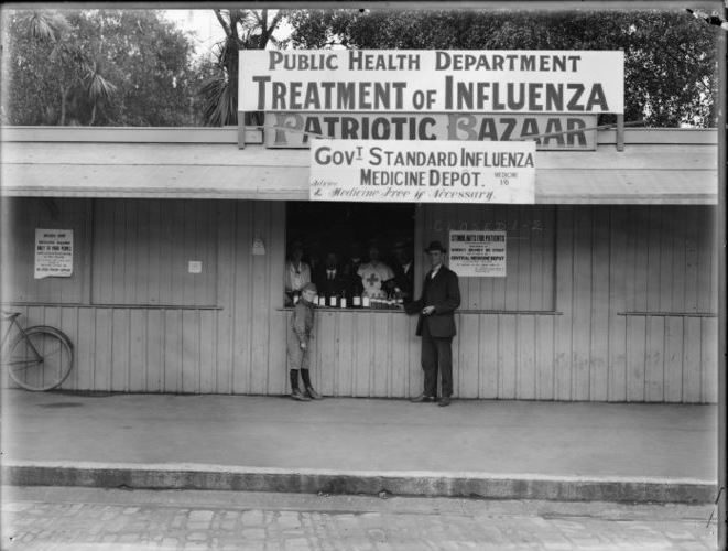 "An influenza medicine depot in Christchurch for ""poor"" people. December 1918."