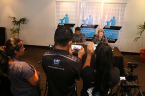 The Mulitnational Observer Group hold a press conference in Suva