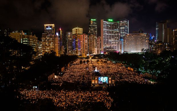 A huge crowd gathered in Hong Kong for a candlelit vigil to commemorate the anniversary.