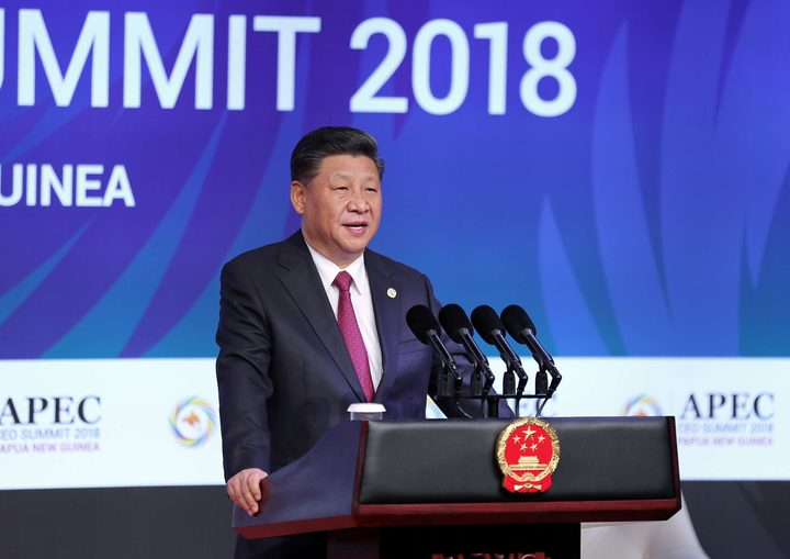 Chinese President Xi Jinping delivers a keynote speech titled Jointly Charting a Course Toward a Brighter Future while attending the Asia Pacific Economic Cooperation (APEC) CEO Summit in Port Moresby,
