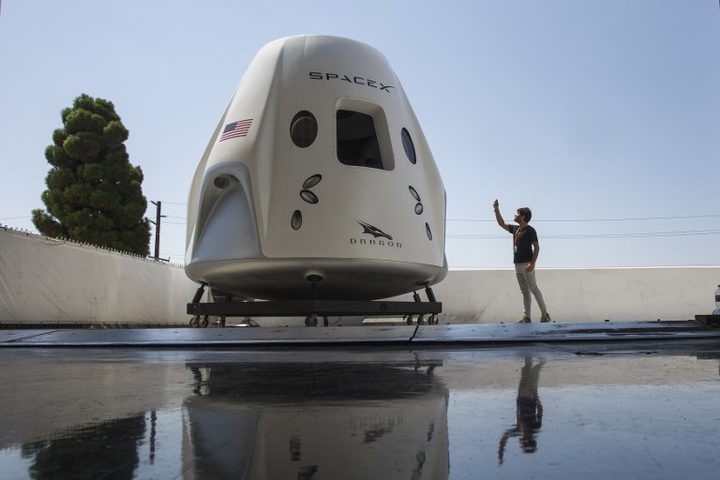 A mock up of the Crew Dragon spacecraft taken