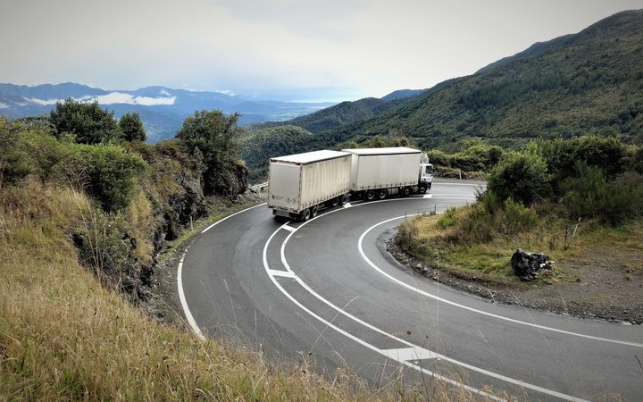 Truck on winding Takaka Hill