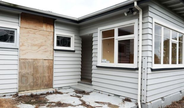 An earthquake damaged house in Christchurch.