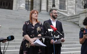 PPTA vice president Melanie Webber and president Jack Boyle announce that teachers have rejected the government's pay offer.
