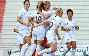 Football Ferns celebrating a goal