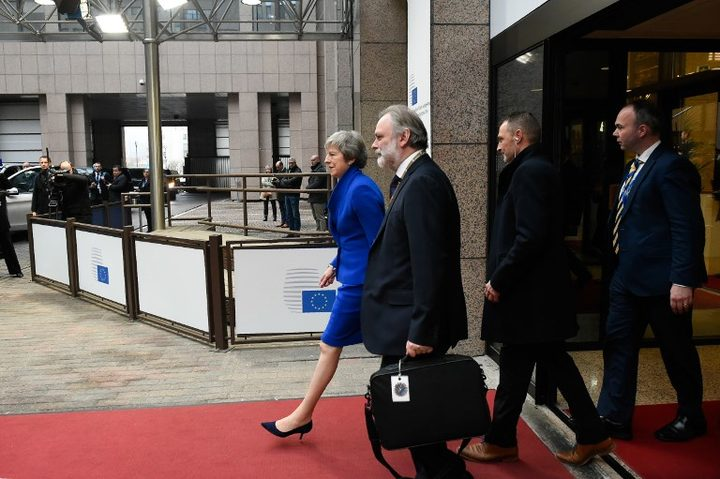 Britain's Prime Minister Theresa May leaves after a special meeting of the European Council to endorse the draft Brexit withdrawal agreement.