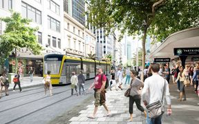 A concept image of what Queen St could look like without cars.