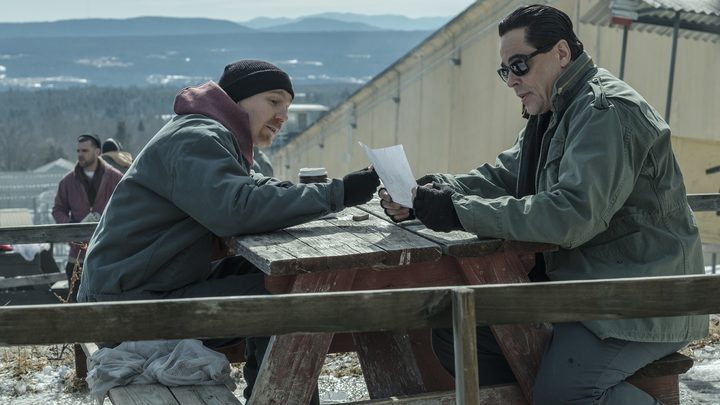 Paul Dano and Benicio del Toro inside the real Clinton Correctional Facility with the Adirondacks in the background.