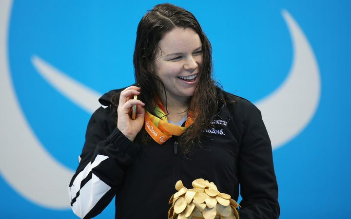 Mary Fisher on the podium with her gold medal at the Rio Paralympics.