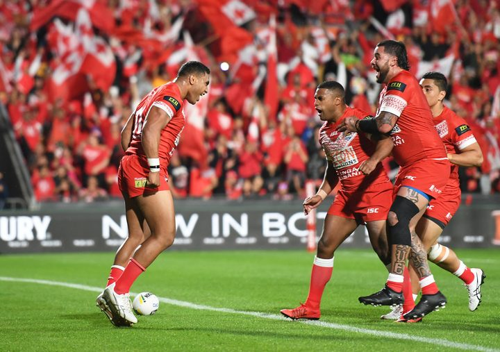 Tevita Pangai Junior celebrates after scoring for Tonga against Australia in October.